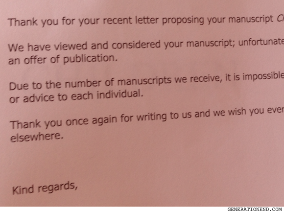 Rejection letter - Generation End