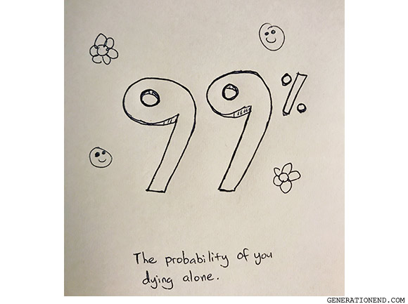 the probability of you dying alone