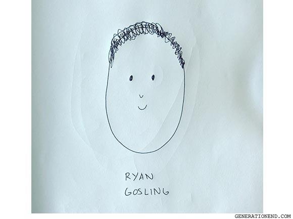 a sketch of ryan gosling