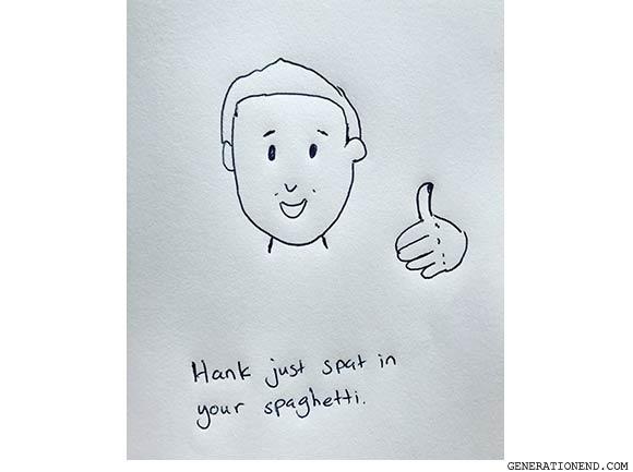 thumbs up smiling man drawing
