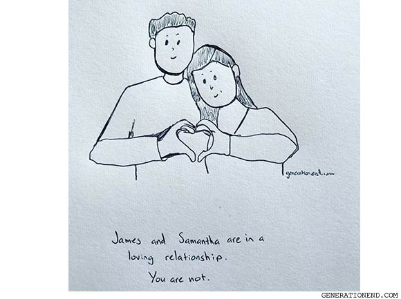 loving relationship - romantic comic drawing