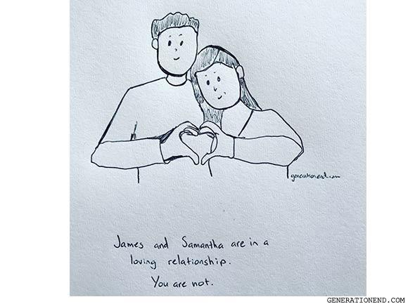 loving relationship - romantic comic drawing