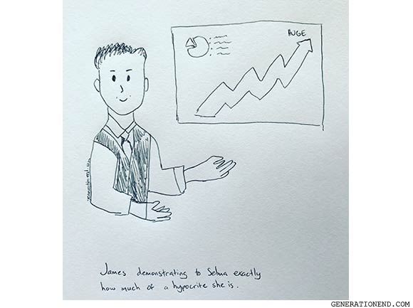 cartoon man in front of graph - relationship comic