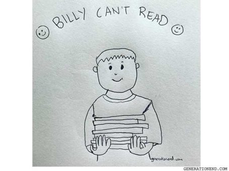 billy cant read - drawing