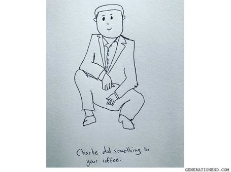 charlie did something to your coffee - drawing