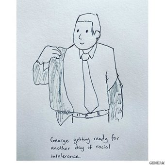 drawing of man putting on suit
