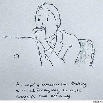 inspiring entrepreneur thinking about ways to waste everyones money