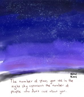 water color painting saying the number of stars in the sky